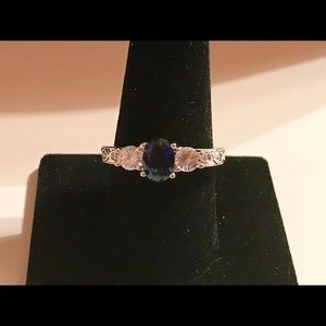 Oval Cut Blue Sapphire 925 Silver Ring Size 10